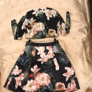 Floral Cotton Sweater w/ Floral Satin Swing Skirt